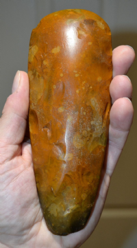 "A large, heavy and magnificent ""Museum Quality"" Neolithic ""Toffee"" coloured polished flint axe from near Bury St. Edmunds, Suffolk. SOLD"